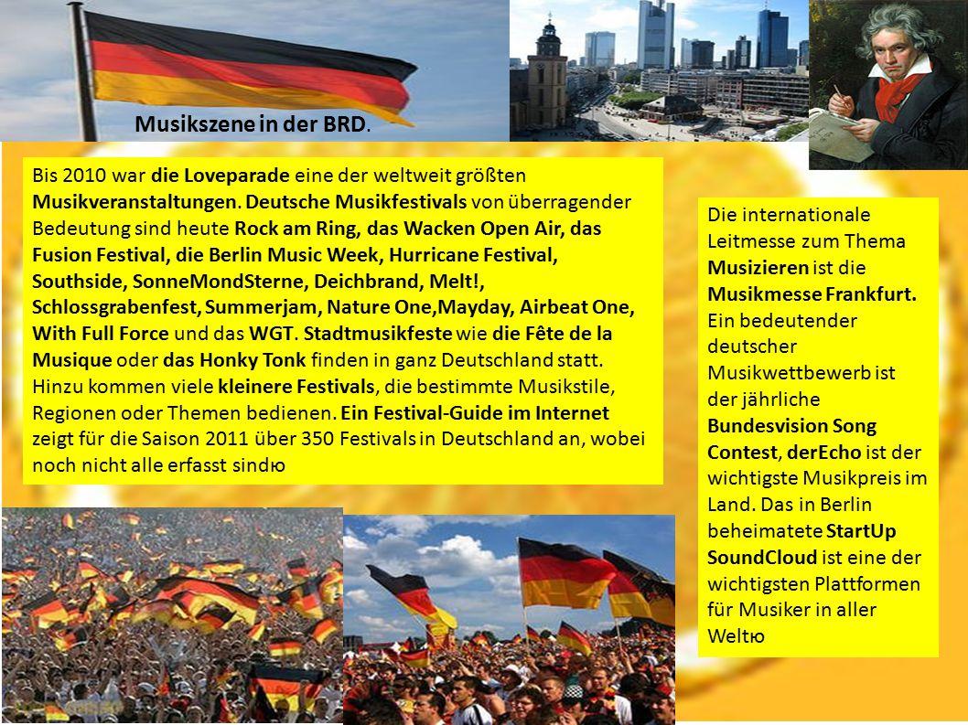 Bis 2010 war die Loveparade eine der weltweit größten Musikveranstaltungen. Deutsche Musikfestivals von überragender Bedeutung sind heute Rock am Ring