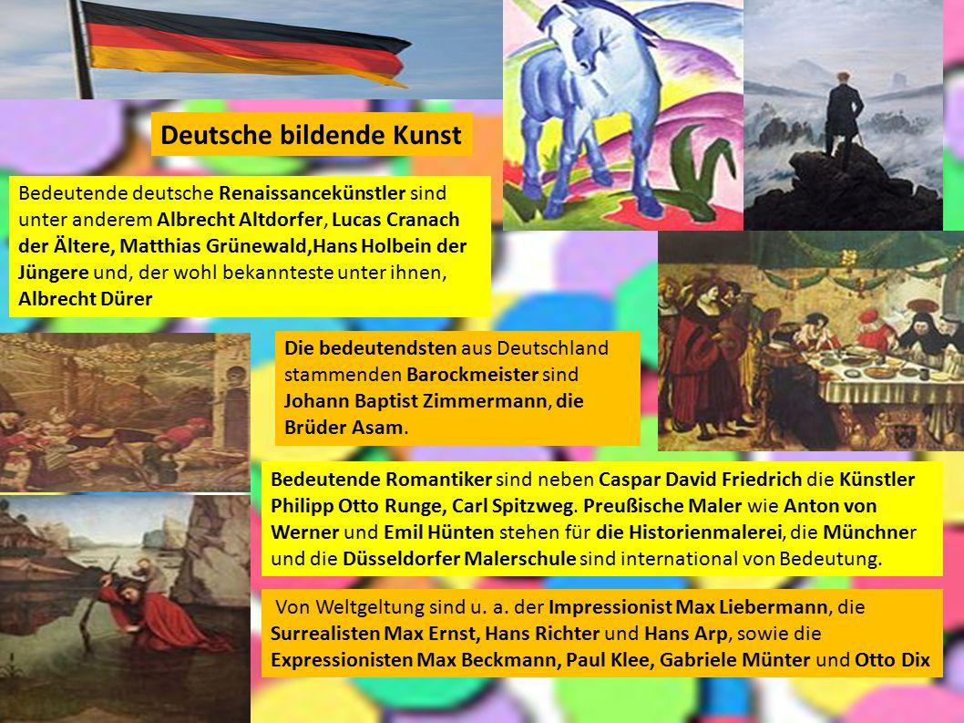 Deutsche bildende Kunst Bedeutende deutsche Renaissancekünstler sind unter anderem Albrecht Altdorfer, Lucas Cranach der Ältere, Matthias Grünewald,Ha
