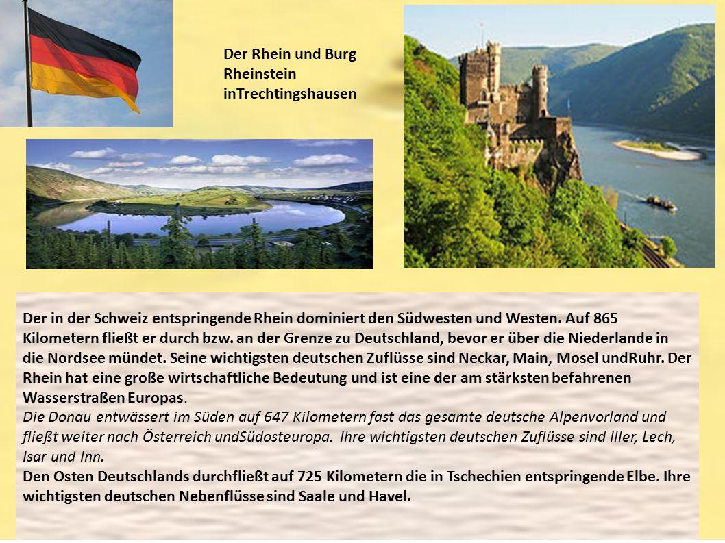 Der Rhein und Burg Rheinstein inTrechtingshausen Der in der Schweiz entspringende Rhein dominiert den Südwesten und Westen. Auf 865 Kilometern fließt