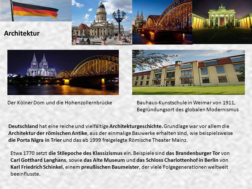 Architektur Der Kölner Dom und die HohenzollernbrückeBauhaus-Kunstschule in Weimar von 1911, Begründungsort des globalen Modernismus Deutschland hat eine reiche und vielfältige Architekturgeschichte.
