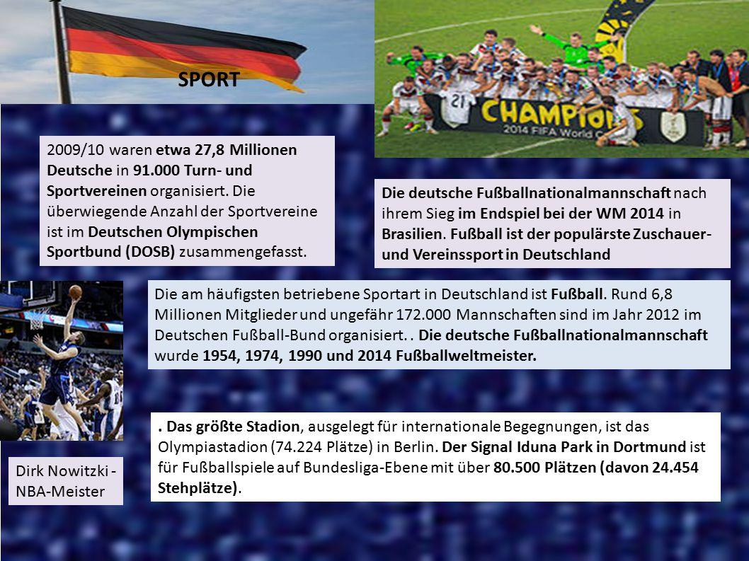 Die deutsche Fußballnationalmannschaft nach ihrem Sieg im Endspiel bei der WM 2014 in Brasilien. Fußball ist der populärste Zuschauer- und Vereinsspor