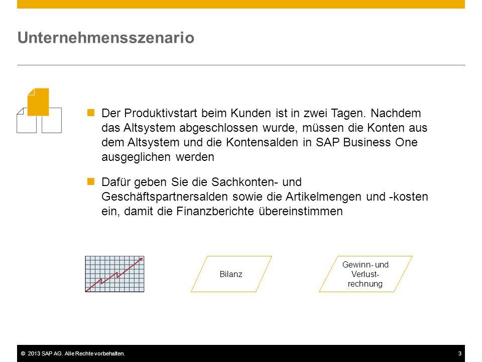 ©2013 SAP AG.Alle Rechte vorbehalten.3 Der Produktivstart beim Kunden ist in zwei Tagen.