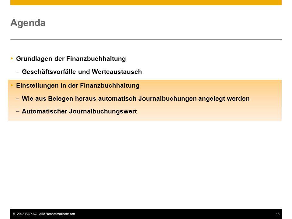 ©2013 SAP AG. Alle Rechte vorbehalten.13 Agenda  Grundlagen der Finanzbuchhaltung –Geschäftsvorfälle und Werteaustausch  Einstellungen in der Finanz