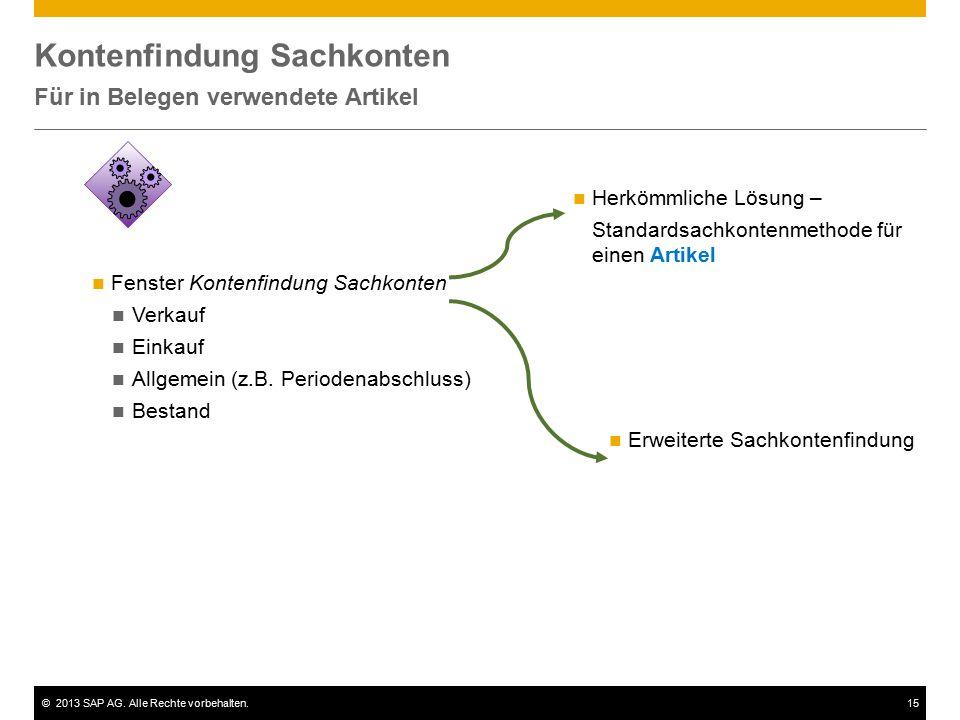 ©2013 SAP AG. Alle Rechte vorbehalten.15 Kontenfindung Sachkonten Für in Belegen verwendete Artikel Fenster Kontenfindung Sachkonten Verkauf Einkauf A