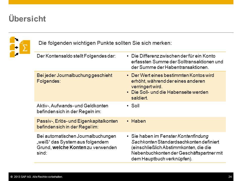 ©2013 SAP AG. Alle Rechte vorbehalten.24 Übersicht Der Kontensaldo stellt Folgendes dar:Die Differenz zwischen der für ein Konto erfassten Summe der S