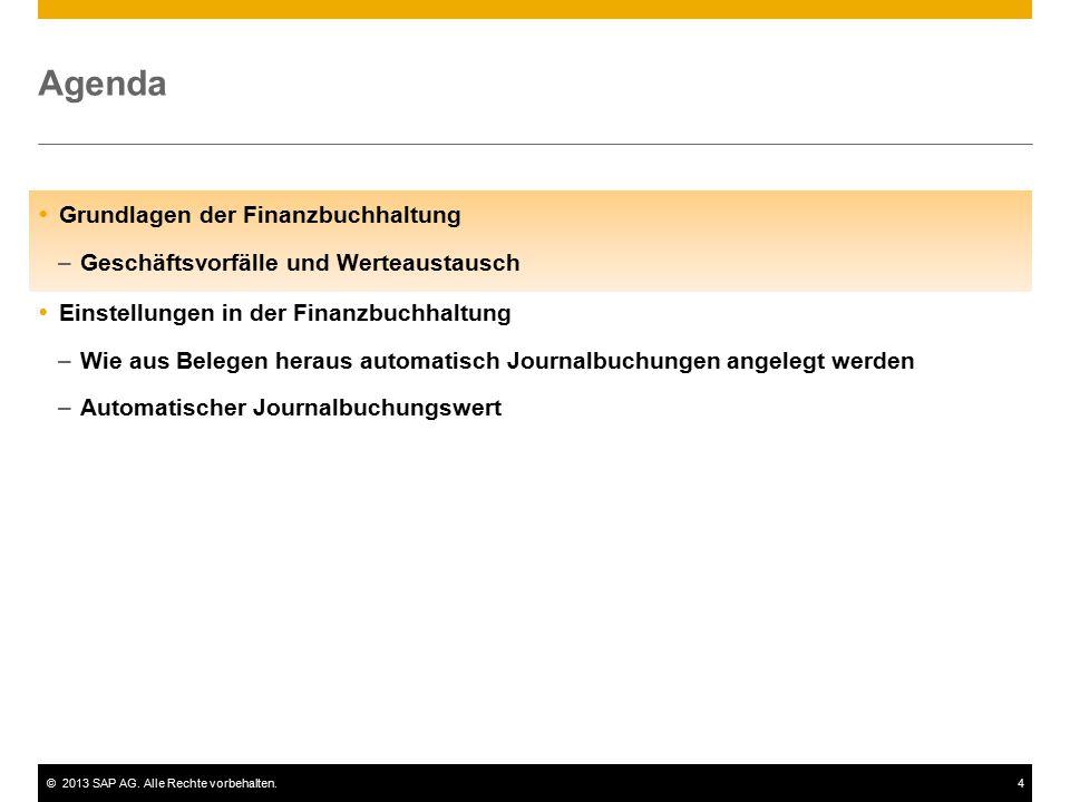 ©2013 SAP AG. Alle Rechte vorbehalten.4 Agenda  Grundlagen der Finanzbuchhaltung –Geschäftsvorfälle und Werteaustausch  Einstellungen in der Finanzb