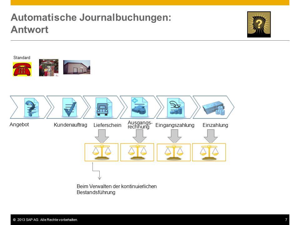 ©2013 SAP AG. Alle Rechte vorbehalten.7 Automatische Journalbuchungen: Antwort Standard Angebot Kundenauftrag Lieferschein Ausgangs- rechnung Eingangs