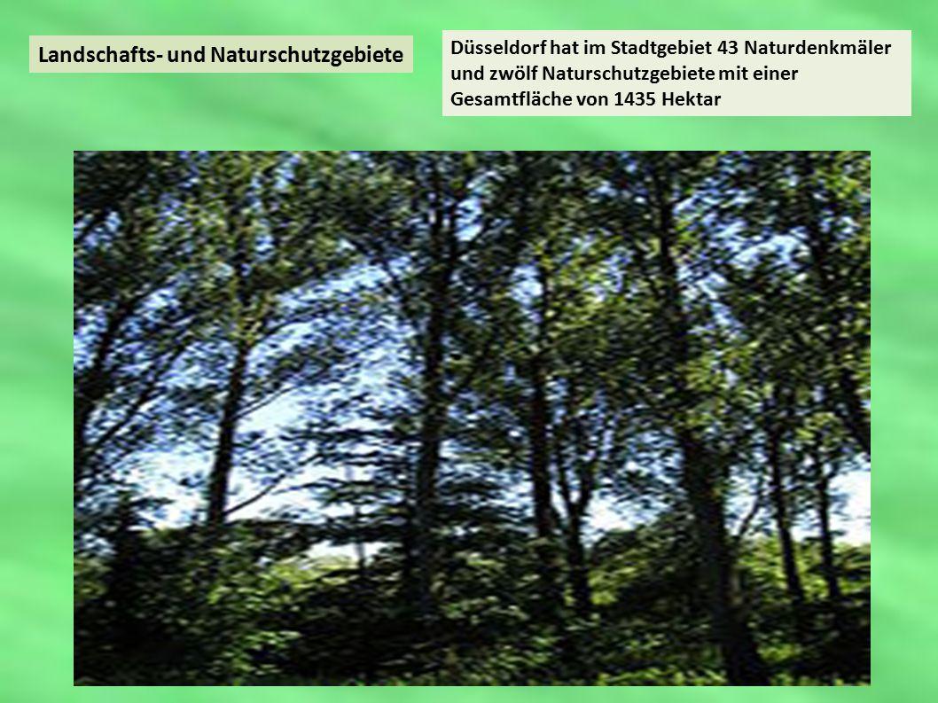 Landschafts- und Naturschutzgebiete Düsseldorf hat im Stadtgebiet 43 Naturdenkmäler und zwölf Naturschutzgebiete mit einer Gesamtfläche von 1435 Hektar