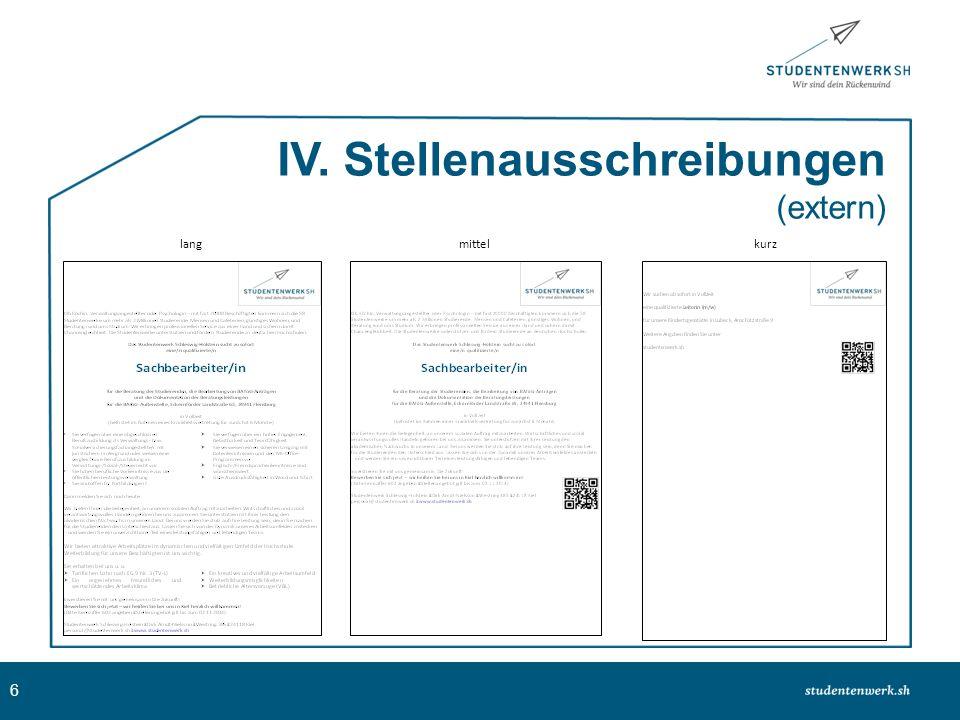 7 IV. Stellenausschreibungen (intern)
