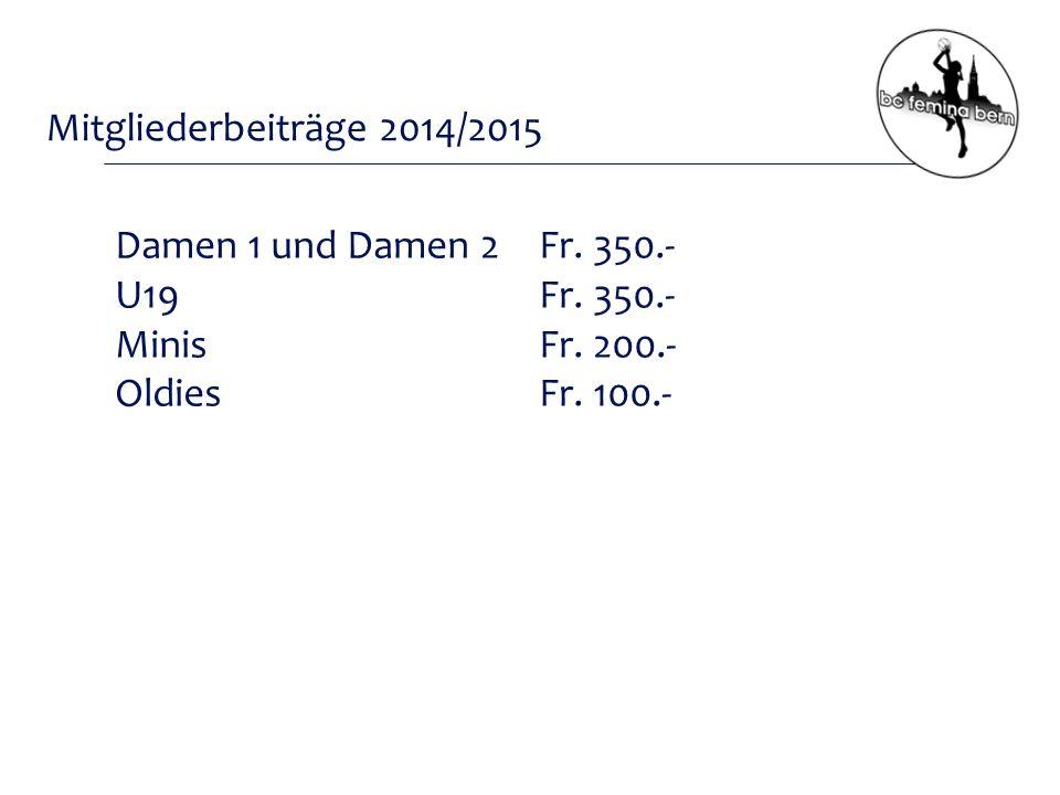 Mitgliederbeiträge 2014/2015 Damen 1 und Damen 2 Fr.