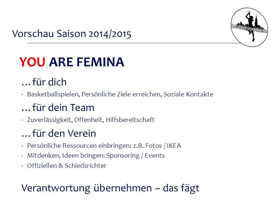 Vorschau Saison 2014/2015 YOU ARE FEMINA …für dich -Basketballspielen, Persönliche Ziele erreichen, Soziale Kontakte …für dein Team -Zuverlässigkeit, Offenheit, Hilfsbereitschaft …für den Verein -Persönliche Ressourcen einbringen: z.B.