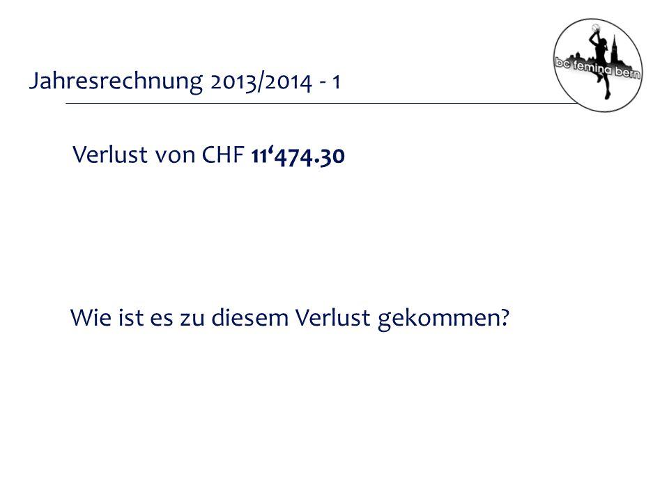 Jahresrechnung 2013/2014 - 1 Verlust von CHF 11'474.30 Wie ist es zu diesem Verlust gekommen
