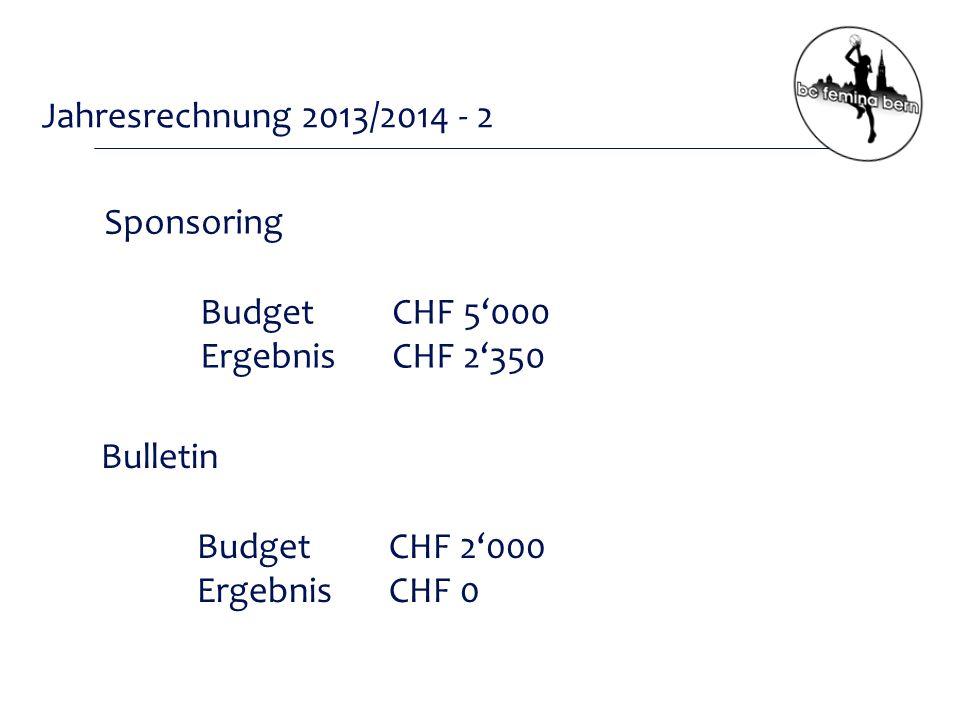 Jahresrechnung 2013/2014 - 2 Sponsoring BudgetCHF 5'000 ErgebnisCHF 2'350 Bulletin BudgetCHF 2'000 ErgebnisCHF 0