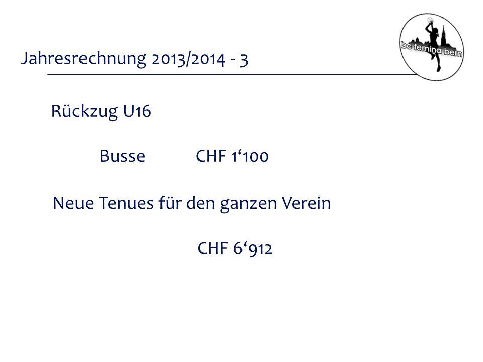 Jahresrechnung 2013/2014 - 3 Rückzug U16 BusseCHF 1'100 Neue Tenues für den ganzen Verein CHF 6'912