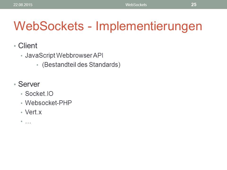 WebSockets - Implementierungen Client JavaScript Webbrowser API (Bestandteil des Standards) Server Socket.IO Websocket-PHP Vert.x … 22.08.2015WebSockets 25
