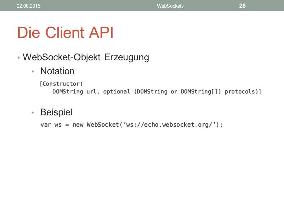Die Client API WebSocket-Objekt Erzeugung Notation Beispiel 22.08.2015WebSockets 28