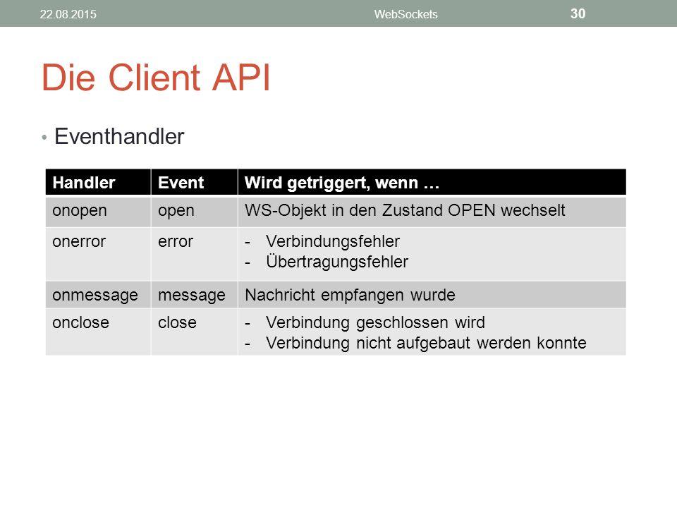 Die Client API Eventhandler 22.08.2015WebSockets 30 HandlerEventWird getriggert, wenn … onopenopenWS-Objekt in den Zustand OPEN wechselt onerrorerror-Verbindungsfehler -Übertragungsfehler onmessagemessageNachricht empfangen wurde oncloseclose-Verbindung geschlossen wird -Verbindung nicht aufgebaut werden konnte