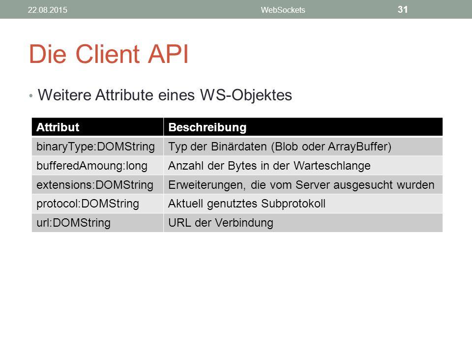 Die Client API Weitere Attribute eines WS-Objektes 22.08.2015WebSockets 31 AttributBeschreibung binaryType:DOMStringTyp der Binärdaten (Blob oder ArrayBuffer) bufferedAmoung:longAnzahl der Bytes in der Warteschlange extensions:DOMStringErweiterungen, die vom Server ausgesucht wurden protocol:DOMStringAktuell genutztes Subprotokoll url:DOMStringURL der Verbindung