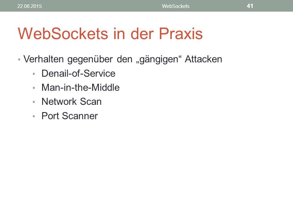 "WebSockets in der Praxis Verhalten gegenüber den ""gängigen Attacken Denail-of-Service Man-in-the-Middle Network Scan Port Scanner 22.08.2015WebSockets 41"