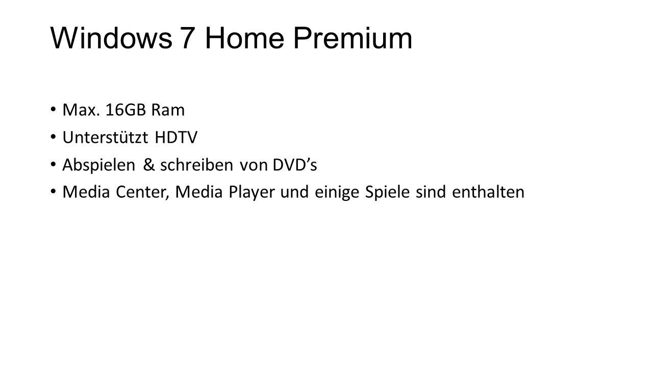 Windows 7 Home Premium Max. 16GB Ram Unterstützt HDTV Abspielen & schreiben von DVD's Media Center, Media Player und einige Spiele sind enthalten