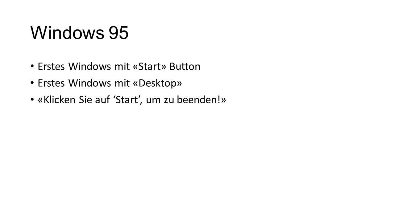 Windows 95 Erstes Windows mit «Start» Button Erstes Windows mit «Desktop» «Klicken Sie auf 'Start', um zu beenden!»