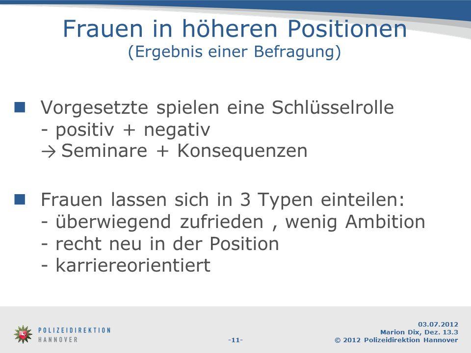 -11- 03.07.2012 Marion Dix, Dez. 13.3 © 2012 Polizeidirektion Hannover Frauen in höheren Positionen (Ergebnis einer Befragung) Vorgesetzte spielen ein
