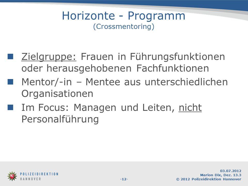 -12- 03.07.2012 Marion Dix, Dez. 13.3 © 2012 Polizeidirektion Hannover Horizonte - Programm (Crossmentoring) Zielgruppe: Frauen in Führungsfunktionen