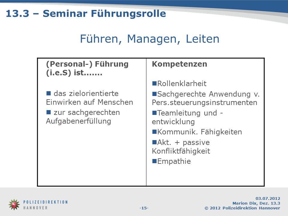 -15- 03.07.2012 Marion Dix, Dez. 13.3 © 2012 Polizeidirektion Hannover Führen, Managen, Leiten (Personal-) Führung (i.e.S) ist....... das zielorientie