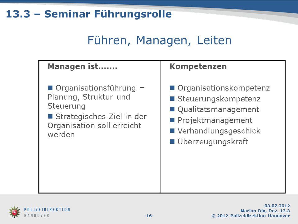 -16- 03.07.2012 Marion Dix, Dez. 13.3 © 2012 Polizeidirektion Hannover Führen, Managen, Leiten Managen ist....... Organisationsführung = Planung, Stru