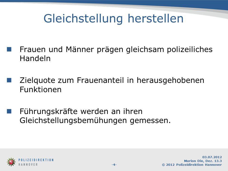 -4- 03.07.2012 Marion Dix, Dez. 13.3 © 2012 Polizeidirektion Hannover Gleichstellung herstellen Frauen und Männer prägen gleichsam polizeiliches Hande