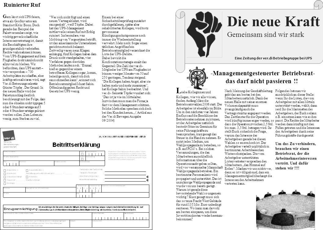 Eine Zeitung der ver.di Betriebsgruppe bei UPS -Managementgesteuerter Betriebsrat- das darf nicht passieren !.