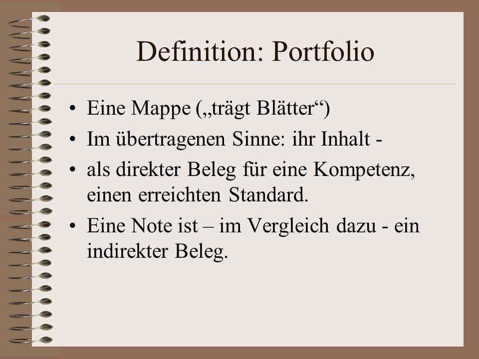 """Definition: Portfolio Eine Mappe (""""trägt Blätter ) Im übertragenen Sinne: ihr Inhalt - als direkter Beleg für eine Kompetenz, einen erreichten Standard."""