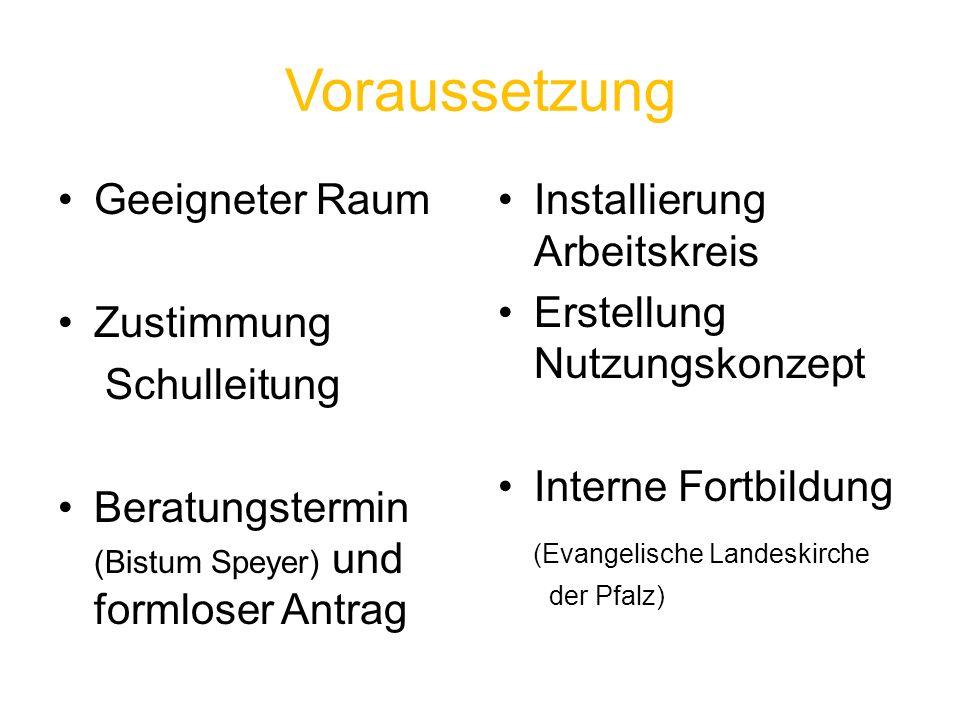 Voraussetzung Geeigneter Raum Zustimmung Schulleitung Beratungstermin (Bistum Speyer) und formloser Antrag Installierung Arbeitskreis Erstellung Nutzu