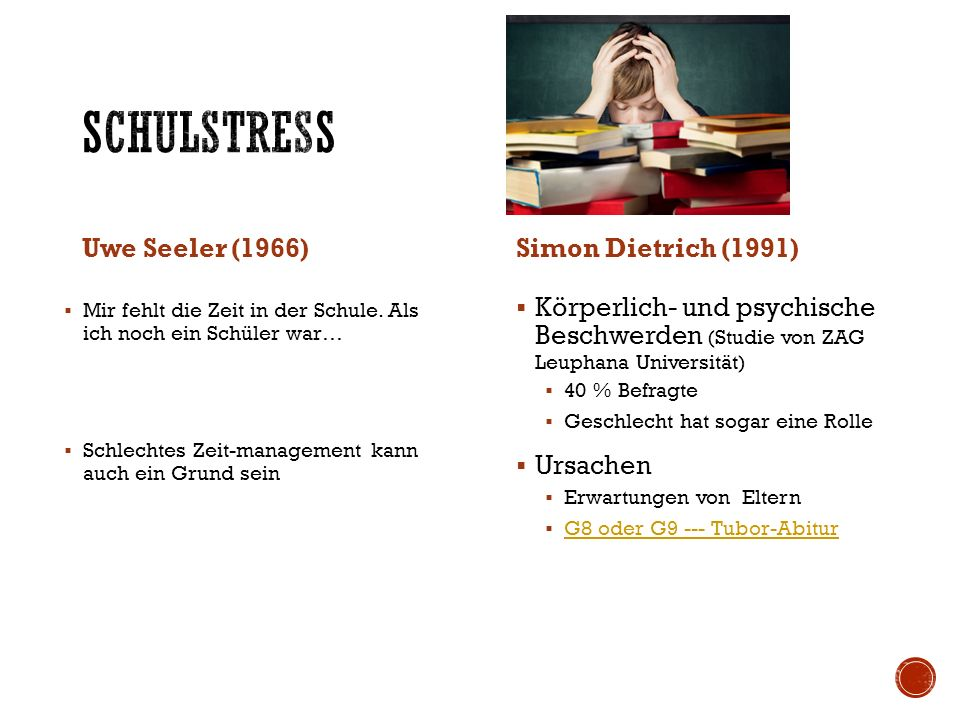 Uwe Seeler (1966)Simon Dietrich (1991)  Körperlich- und psychische Beschwerden (Studie von ZAG Leuphana Universität)  40 % Befragte  Geschlecht hat sogar eine Rolle  Ursachen  Erwartungen von Eltern  G8 oder G9 --- Tubor-Abitur G8 oder G9 --- Tubor-Abitur  Mir fehlt die Zeit in der Schule.