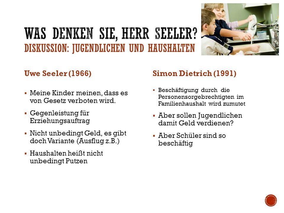 Uwe Seeler (1966)  Vorleserunde bei Kerzenschein (Kinder)  Basteln  Spielabend  Ausflüge oder Wandern Simon Dietrich (1991)  Zusammen in Kirche  Schwimmbad  Filme schauen