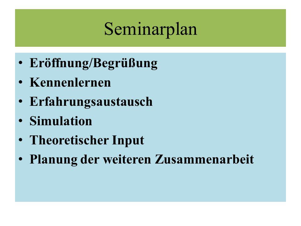 Seminarplan Eröffnung/Begrüßung Kennenlernen Erfahrungsaustausch Simulation Theoretischer Input Planung der weiteren Zusammenarbeit