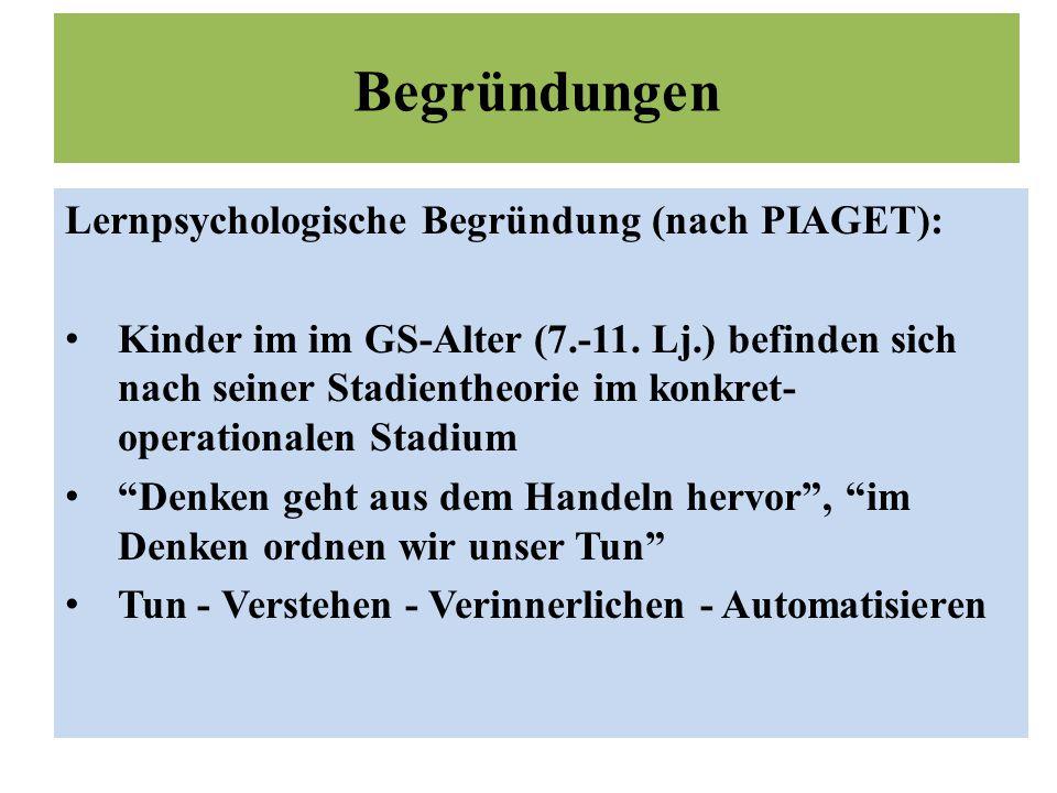 Begründungen Lernpsychologische Begründung (nach PIAGET): Kinder im im GS-Alter (7.-11.