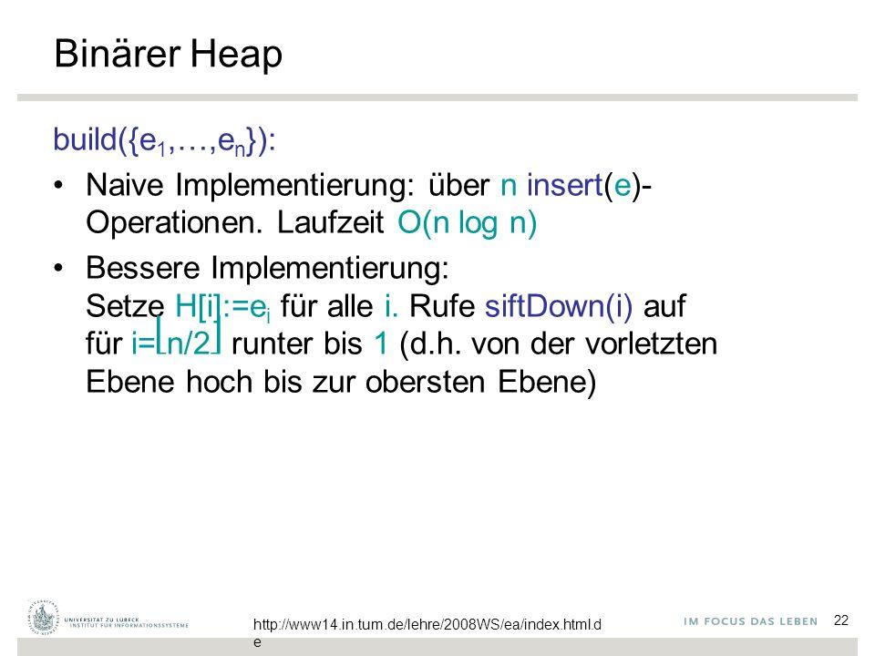 22 Binärer Heap build({e 1,…,e n }): Naive Implementierung: über n insert(e)- Operationen. Laufzeit O(n log n) Bessere Implementierung: Setze H[i]:=e