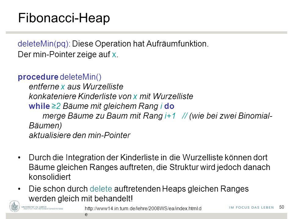 50 Fibonacci-Heap deleteMin(pq): Diese Operation hat Aufräumfunktion. Der min-Pointer zeige auf x. procedure deleteMin() entferne x aus Wurzelliste ko