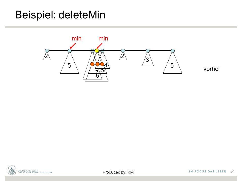 4 5 6 Beispiel: deleteMin 51 2 5 2 3 5 7 min vorher Produced by: RM