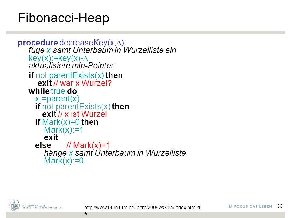 56 Fibonacci-Heap procedure decreaseKey(x,  ): füge x samt Unterbaum in Wurzelliste ein key(x):=key(x)-  aktualisiere min-Pointer if not parentExist