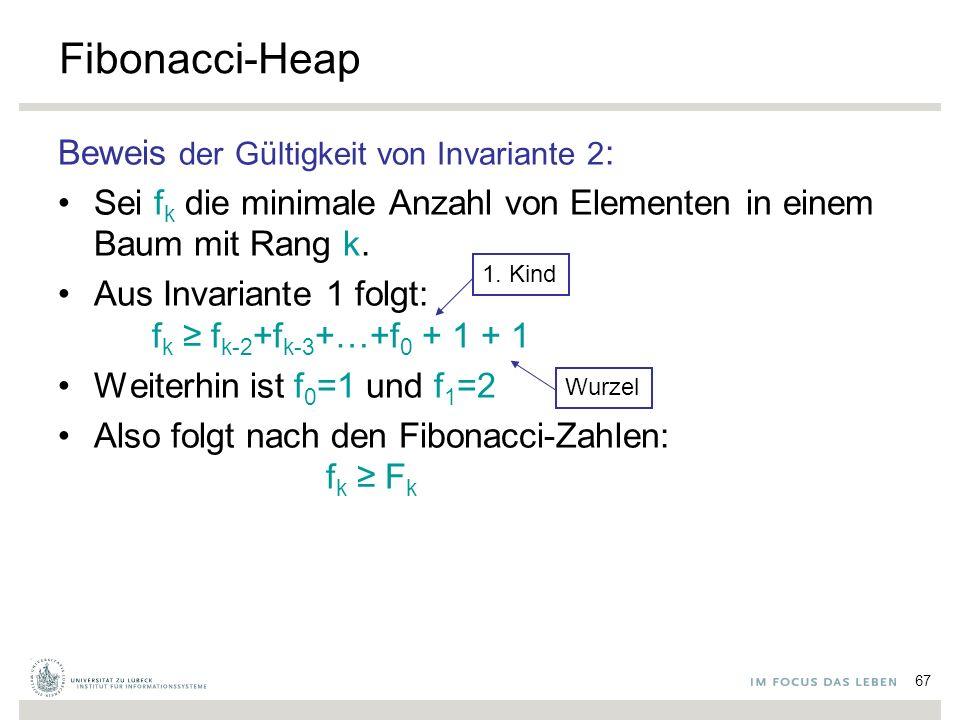 67 Fibonacci-Heap Beweis der Gültigkeit von Invariante 2 : Sei f k die minimale Anzahl von Elementen in einem Baum mit Rang k. Aus Invariante 1 folgt: