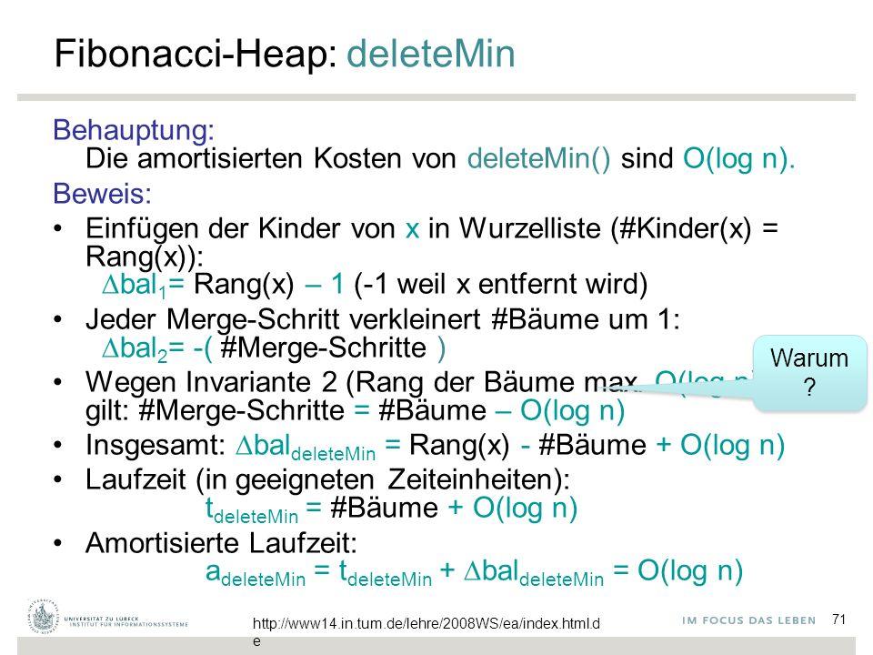 71 Fibonacci-Heap: deleteMin Behauptung: Die amortisierten Kosten von deleteMin() sind O(log n). Beweis: Einfügen der Kinder von x in Wurzelliste (#Ki