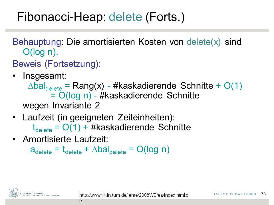 73 Fibonacci-Heap: delete (Forts.) Behauptung: Die amortisierten Kosten von delete(x) sind O(log n). Beweis (Fortsetzung): Insgesamt:  bal delete = R