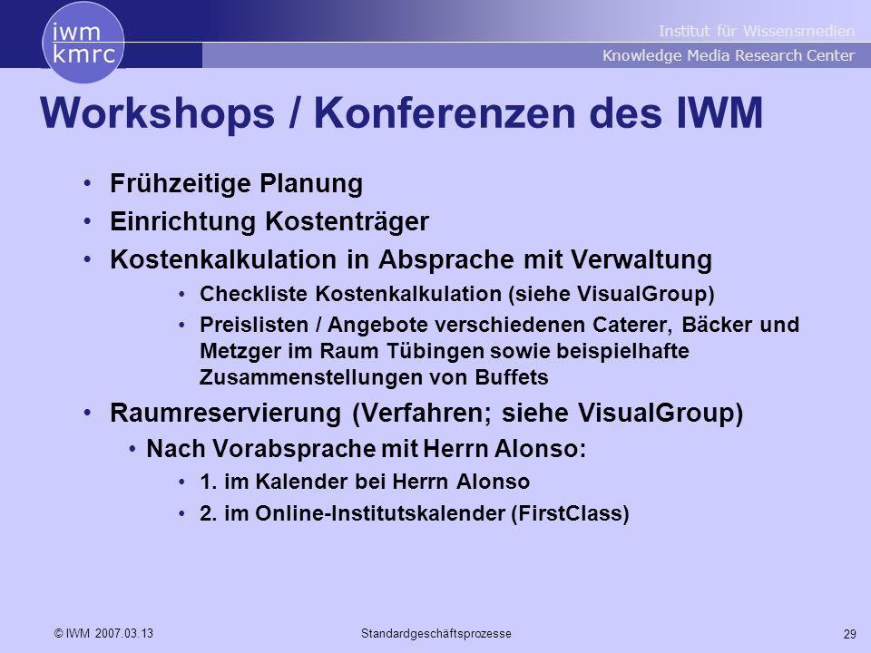 Institut für Wissensmedien Knowledge Media Research Center 29 © IWM 2007.03.13Standardgeschäftsprozesse Workshops / Konferenzen des IWM Frühzeitige Pl