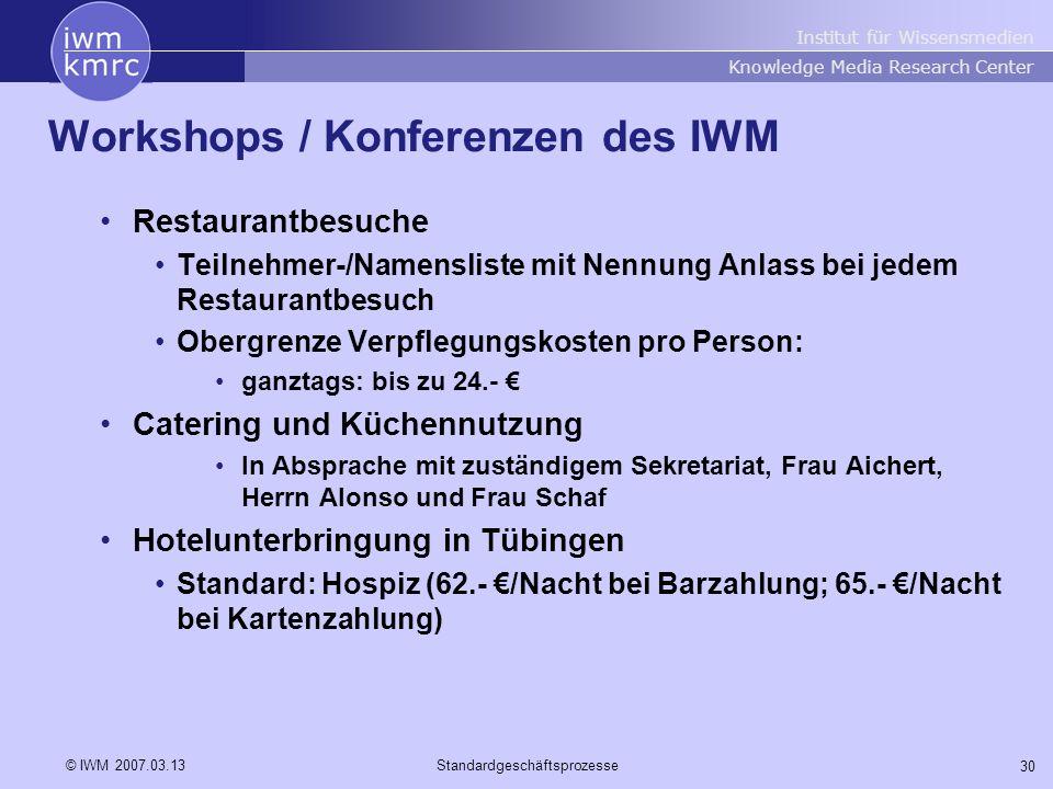 Institut für Wissensmedien Knowledge Media Research Center 30 © IWM 2007.03.13Standardgeschäftsprozesse Workshops / Konferenzen des IWM Restaurantbesu