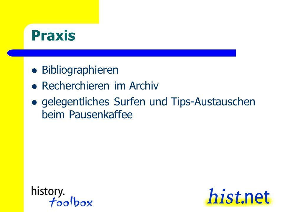 Praxis Bibliographieren Recherchieren im Archiv gelegentliches Surfen und Tips-Austauschen beim Pausenkaffee