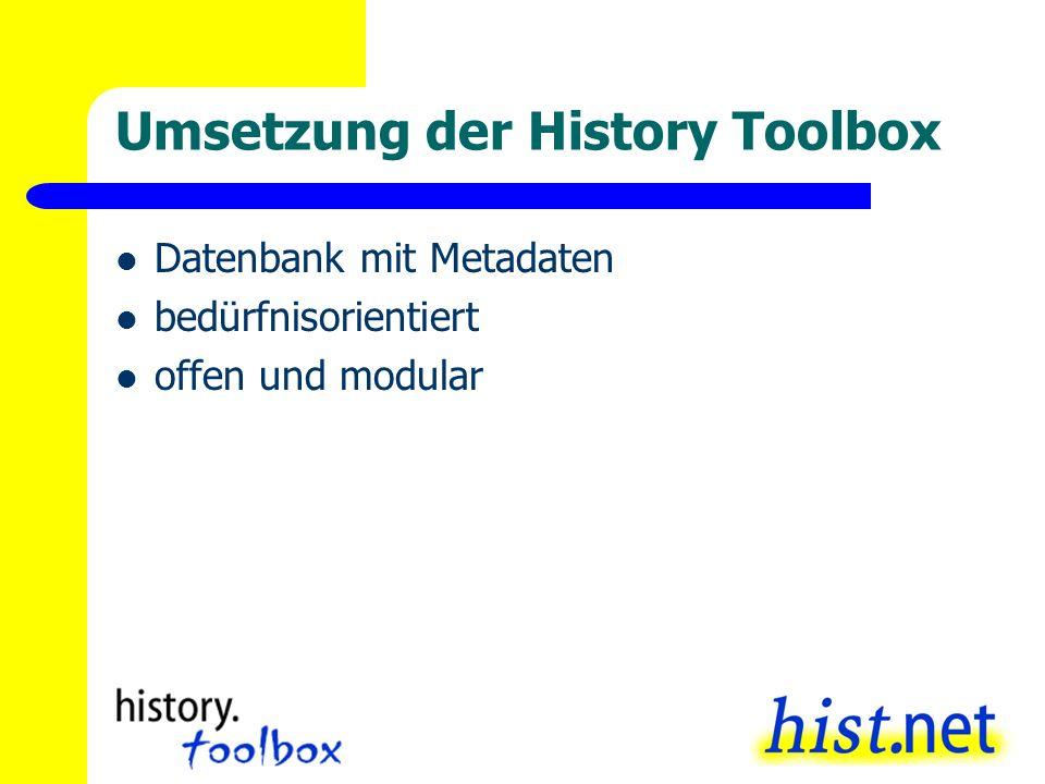Umsetzung der History Toolbox Datenbank mit Metadaten bedürfnisorientiert offen und modular