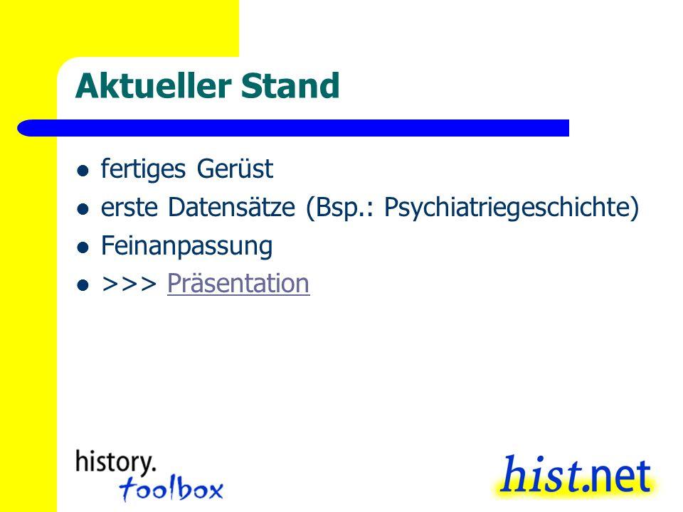 Aktueller Stand fertiges Gerüst erste Datensätze (Bsp.: Psychiatriegeschichte) Feinanpassung >>> PräsentationPräsentation