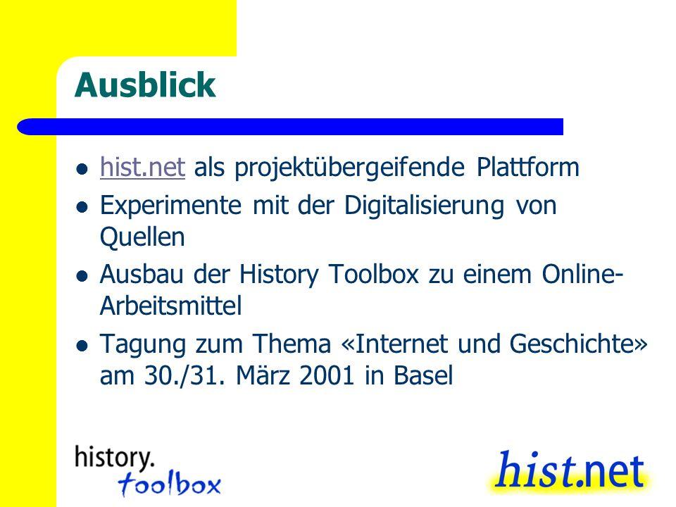 Ausblick hist.net als projektübergeifende Plattform hist.net Experimente mit der Digitalisierung von Quellen Ausbau der History Toolbox zu einem Onlin